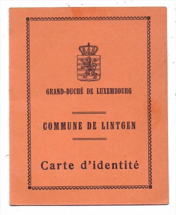 PERSONALAUSWEIS / PASSPORT / CARTE D'IDENTITE - Luxembourg, 1937, Commune de Lintgen