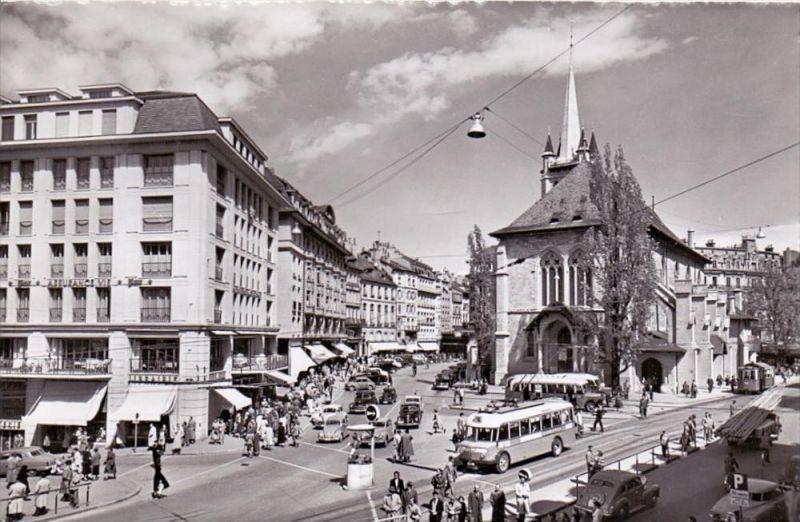 CH 1000 LAUSANNE VD, Place et Eglise St. Francois, 1957, O-Bus, Oldtimer