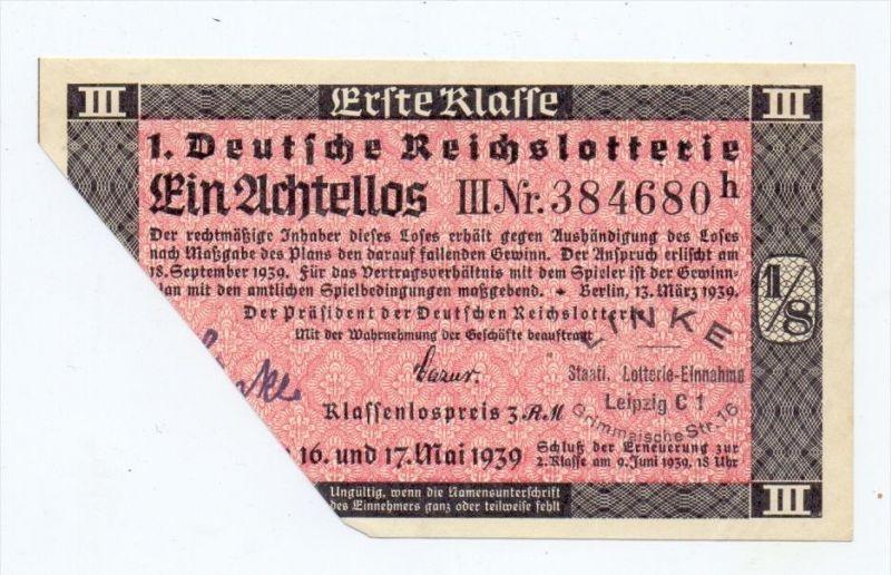 LOTTERIE - 1.Deutsche Reichslotterie 1939, 1 Achtellos