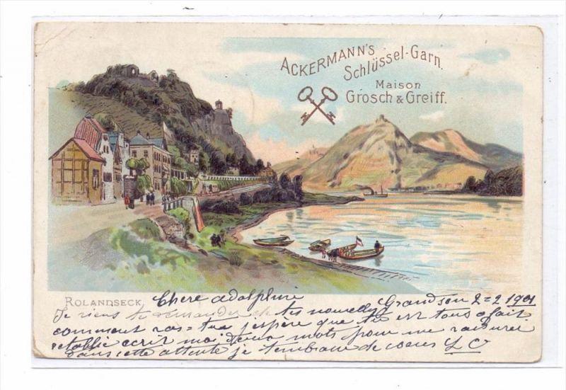 5480 REMAGEN - ROLANDSECK, Lithographie, Werbe-Karte Ackermann's Garn, 1901