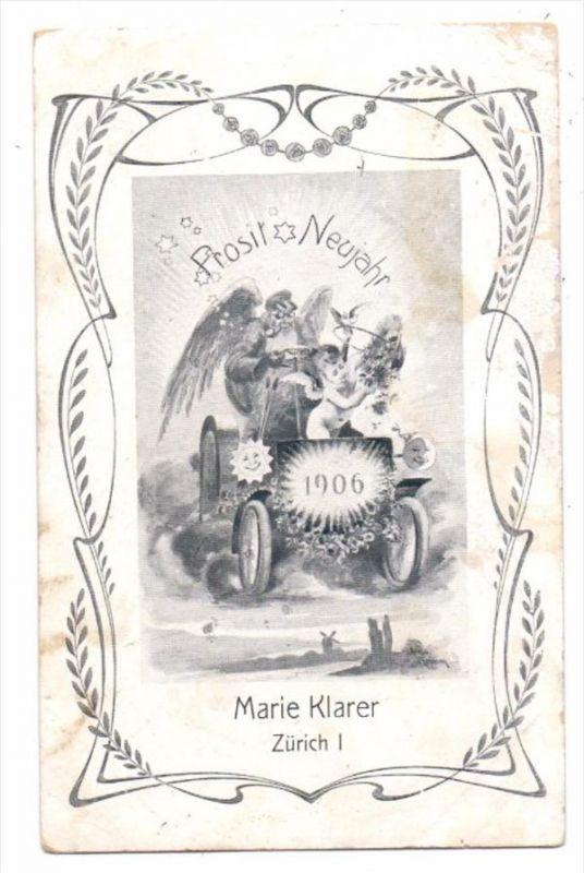CH 8000 ZÜRICH, Neujahrskarte 1906 Marie Klarer, Künstler Friso Grimm