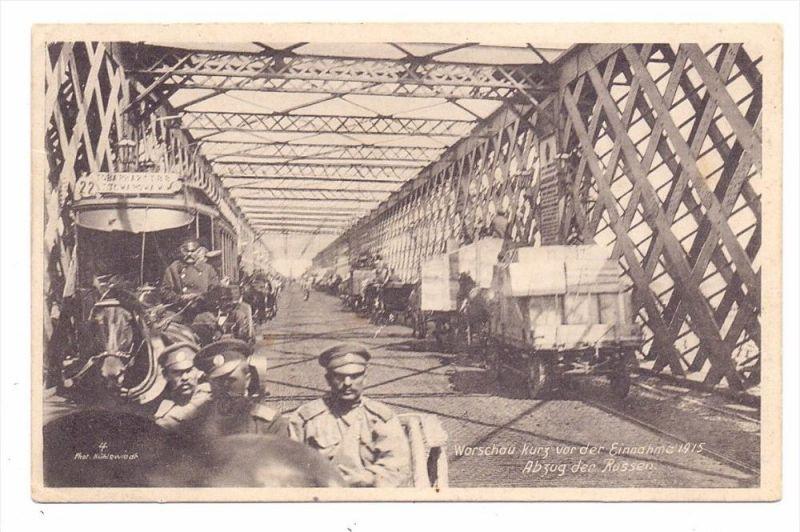 PL 00001 WARSZAWA / WARSCHAU, Abzug der Rissen, 1915, Pferde-Tram