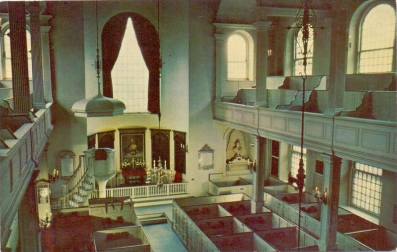 USA - MASSACHUSETTS - BOSTON, Old North Church, Interior, 1957