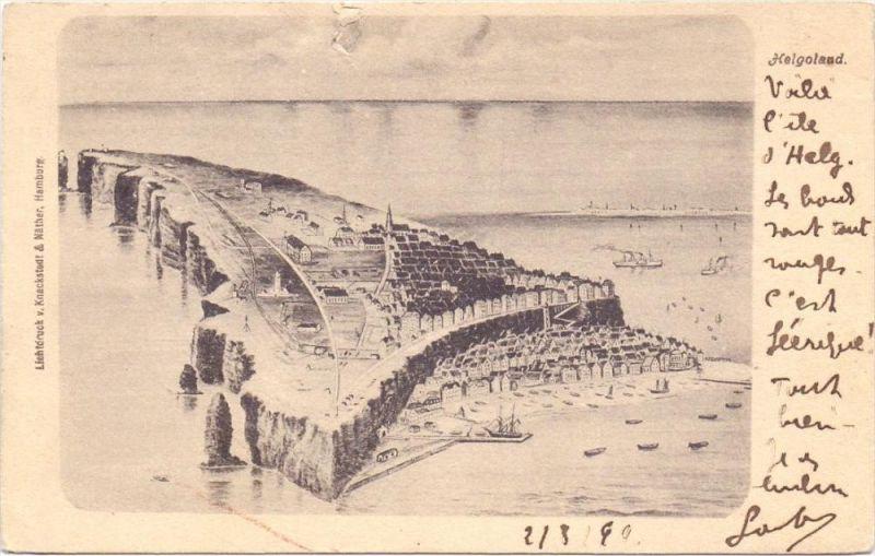 2192 HELGOLAND, Panorama, 1899, Einriss 0