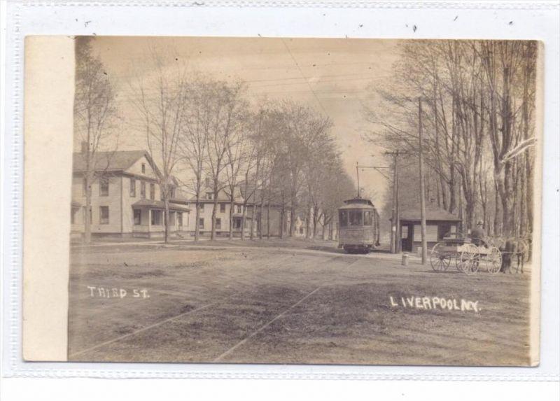 USA - NEW YORK - LIVERPOOL, Third St., 1910, photo.pc., Tram
