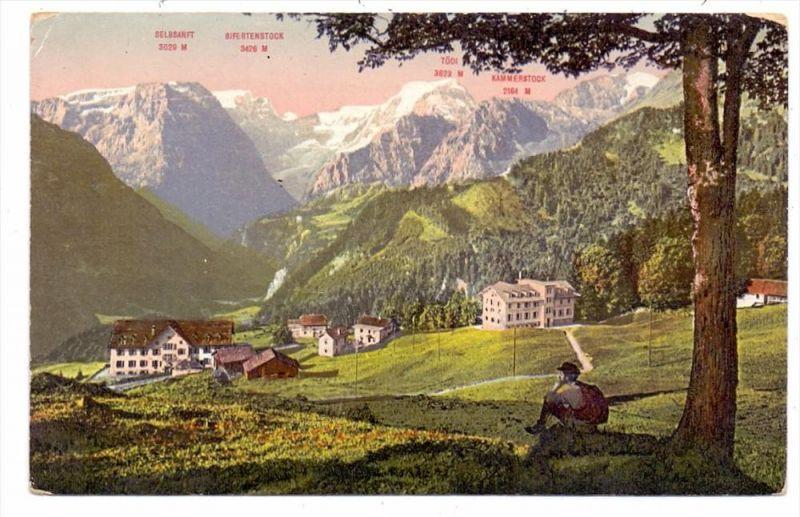 CH 8784 BRAUNWALD GL, Sanatorium & Hotel Pension Niederschlacht, 1923, Ecken leicht berieben