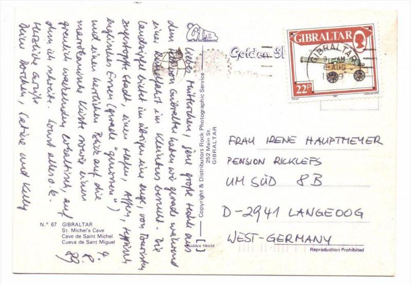 GIBRALTAR - 1987, Michel 533, AK-Einzelfrankatur nach Deutschland