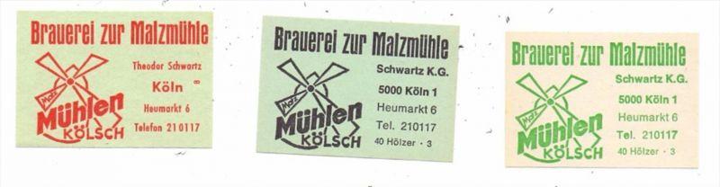 5000 KÖLN, Bier Brauerei Malzmühle, 3 versch. Zündholz-Etiketten