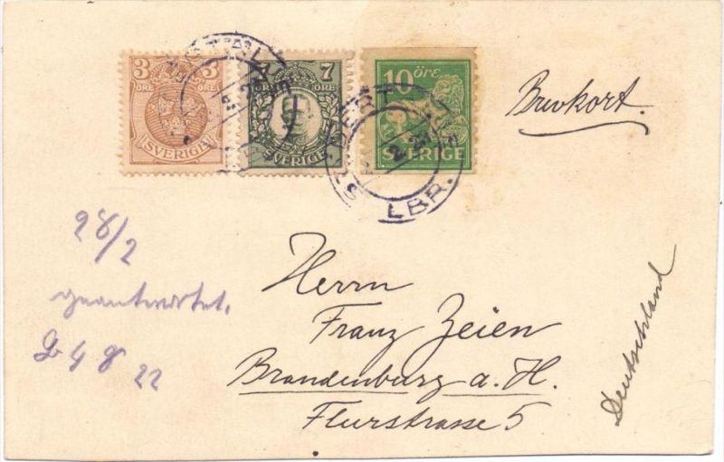 SVERIGE / SCHWEDEN 1922, 3-Farben-Frankatur auf Postkarte, Anfrage an einen Notgeld-Händler in Brandenburg