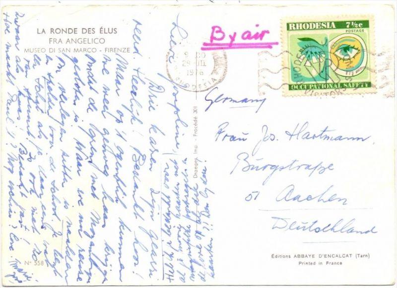 RHODESIA, 1975, Michel 168, Michel Einzalfrankatur nach Deutschland