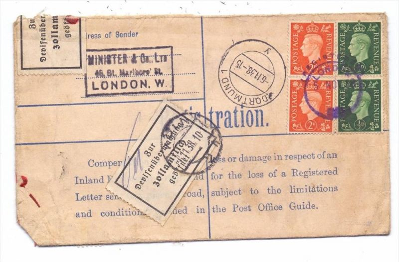 GROSSBRITANIEN - 1938, Einschreib-Brief, Versichert, Devisenkontrolle Köln, v. London nach Dortmund gelaufen