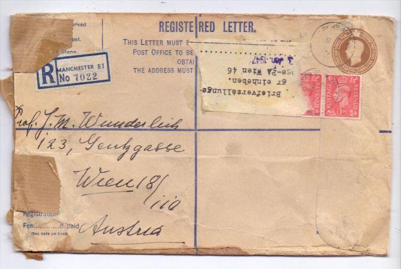 GROSSBRITANIEN - 1947, Einschreib-Ganzsachen-Brief, Briefverzollungsgebühr Wien, v. Manchester nach W