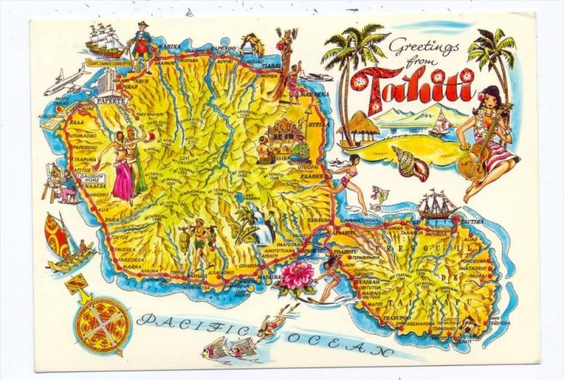 FRANZ. POLYNESIEN - TAHITI, Map