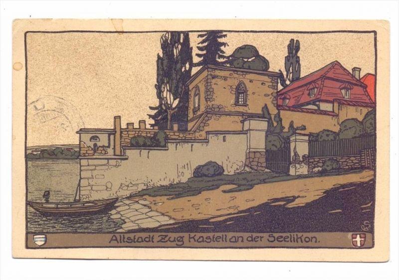 CH 6300 ZUG ZG, Altstadt, Kastell an der Seelikon, Steindruck, 1915