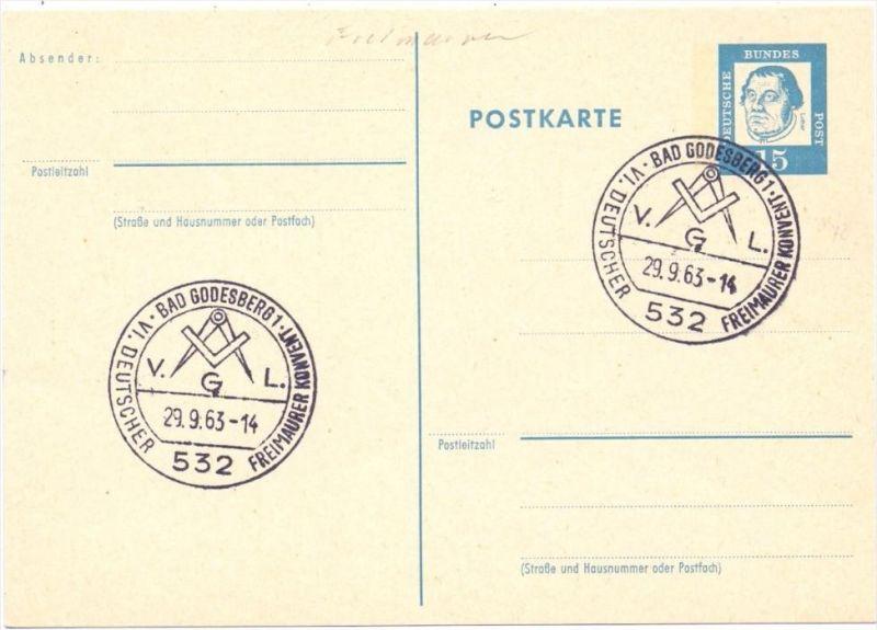 5300 BONN - BAD GODESBERG, Sonderstempel 1963, Deutscher Freimaurer Verband, free masonic / franc macon