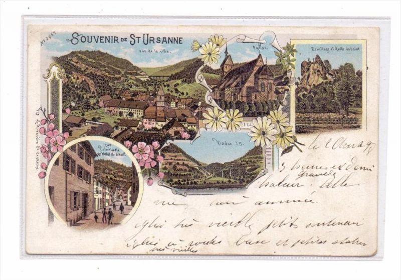 CH 2882 SAINT - URSANNE JU, Lithographie, Hotel de boeuf, vue de ville...., 1898