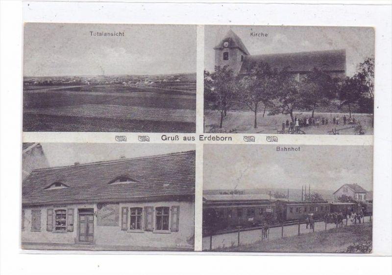 0-4251 MANSFELDER SEEGEBIET - EDEBORN, Handlung Hofmüller, Bahnhof, Kirche..., kl. Randmangel