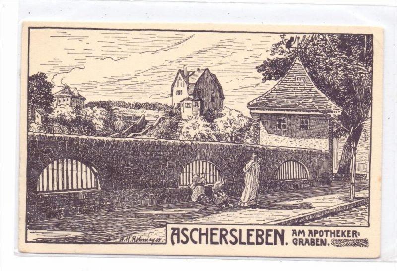 0-4320 ASCHERSLEBEN, Am Apothekergraben, Künstler-Karte Rohmeyer, kl. Eckknick