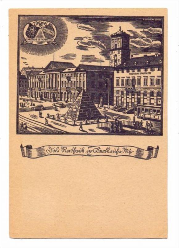 7500 KARLSRUHE, Deutscher Stenografentag 1948, Sonder-AK mit Sonderstempel