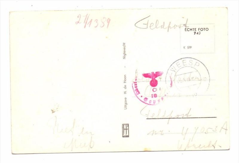 NIEDERLANDE - DEUTSCHE BESETZUNG - Deutsche Feldpost von Weesp nach Utrecht, Feldpost Nr. 47053A