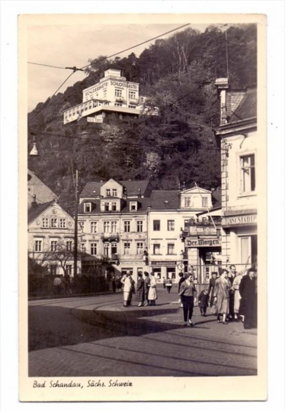 0-8320 BAD SCHANDAU, Schlossbastei, Strassenpartie, 1959, rücks. Klebereste