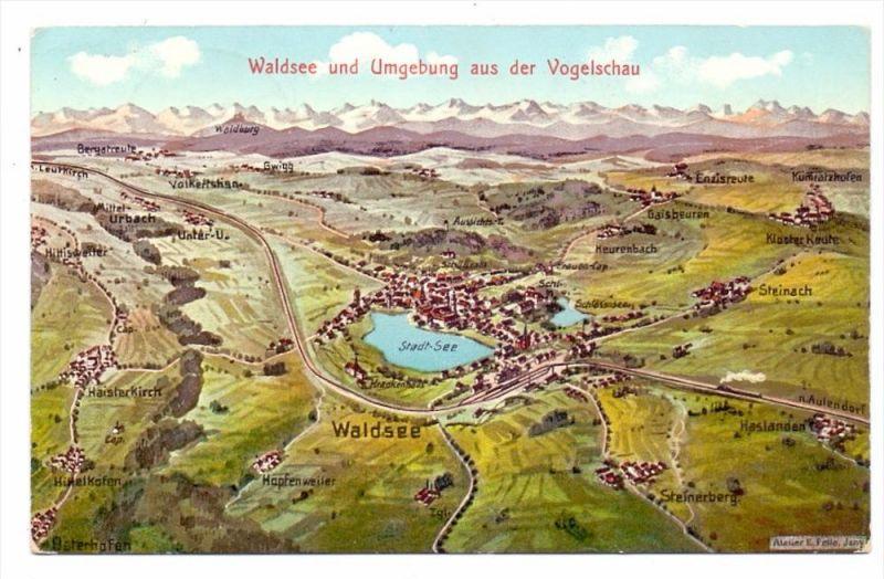 7967 BAD WALDSEE, Waldsee und Umgebung, Künstler-AK Felle, 1916