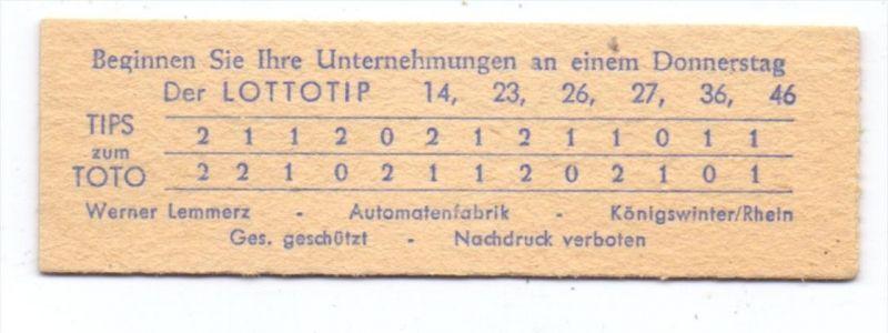 5330 KÖNIGSWINTER, Fa. Werner Lemmertz, Bahnhofsautomaten, Lotto- & Horoskop