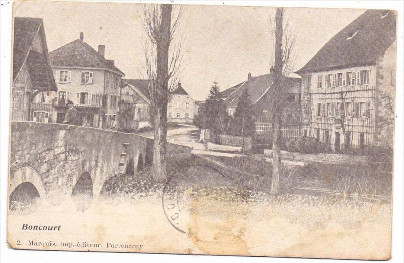CH 2926 BONCOURT JU, Strassenansicht, 1905, Brfm. fehlt, eine Ecke leicht bestossen