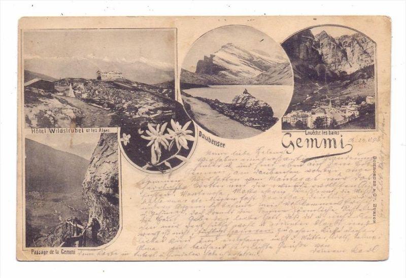 CH 3954 LEUKERBAD VS, Gemmipass, Mehrbild-Lichtdruck, 1894, kl. Eckknick