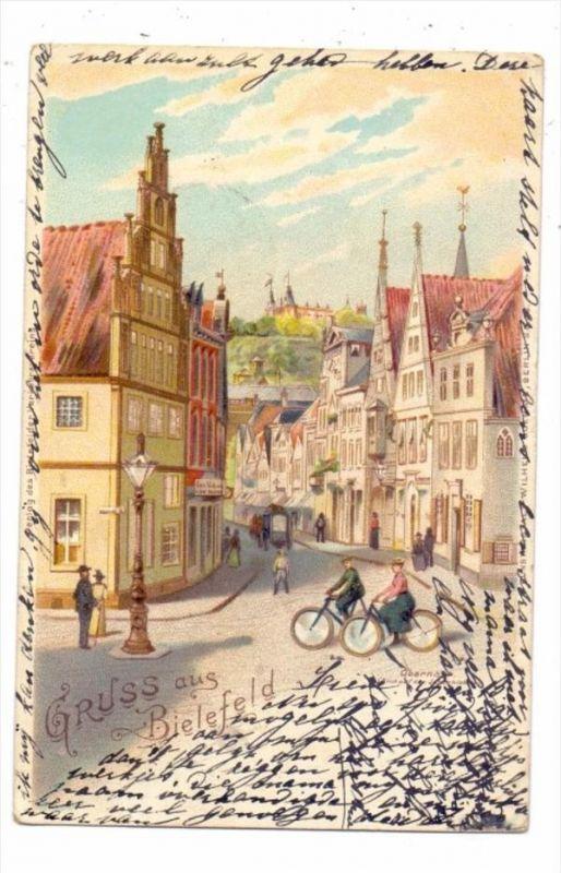 4800 BIELEFELD, Obernstrasse, Lithographie, 1899