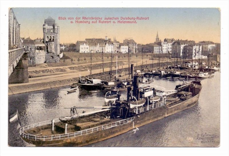 4100 DUISBURG - RUHRORT, Hafen, Binnenschiffe, 1913