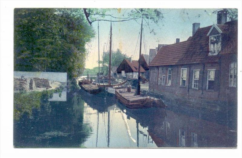 4460 NORDHORN, Hafen, Binnenschiffe, 1908, Oberflächenmangel durch anhaftenden Gummi