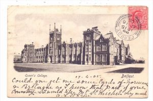 UK - NORTHERN IRELAND - ANTRIM - BELFAST, Queen´s College, 1905, TAX, kl. Knicke / AF