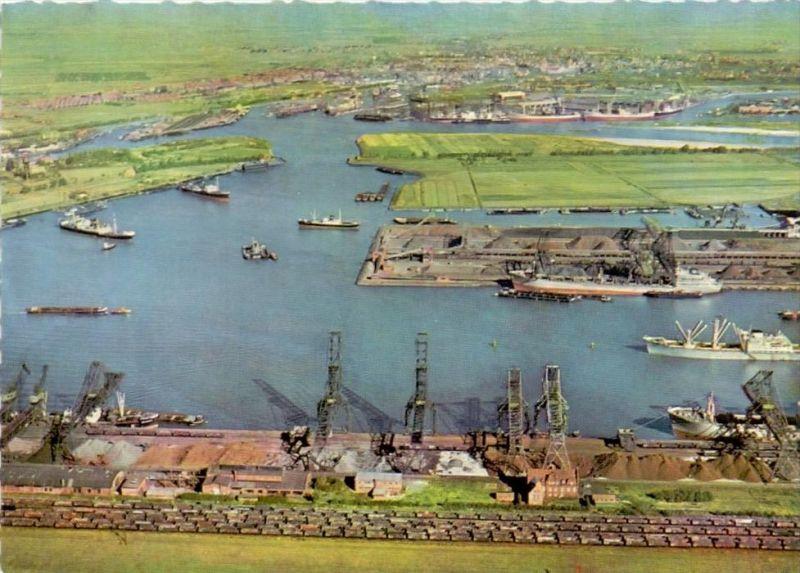 2970 EMDEN, Hafengebiet,  Luftaufnahme, 1962
