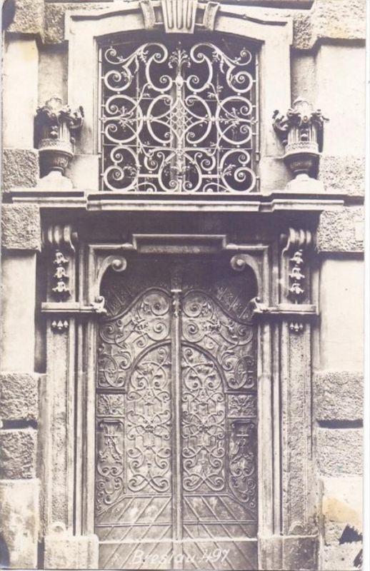 NIEDERSCHLESIEN - BRESLAU, reich verziertes Portal, Photo-AK, ex-Sammlung Kunsthalle Mannheim