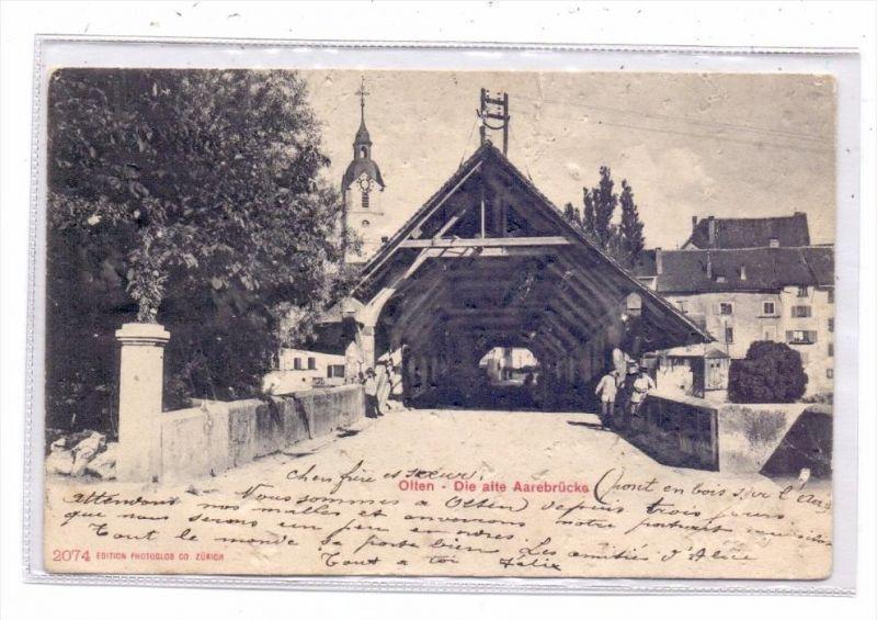 CH 4600 OLTEN SO, Die alte Aarebrücke, 1905, Druckstellen