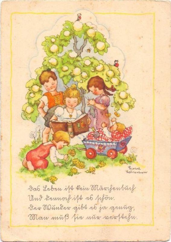 KINDER - Künstler-Karte LIESEL LAUTERKORN, Spielende Kinder unter einem Baum