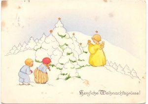 KINDER - Künstler-Karte LIESEL LAUTERKORN, Kinder und Engel, Weihnachtsgrüsse, 1935, fleckig