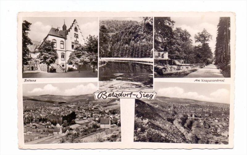 5240 BETZDORF, Rathaus, Siegpartie, Am Kriegerdenkmal..., 1957 0