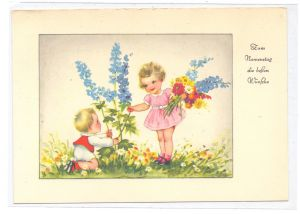 KINDER - Künstler-Karte, HANNES PETERSEN, Kinder mit Blumen