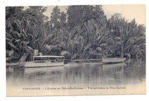 PAPUA NEW GUINEA - ARAPOKINA, Flusslauf, Motorboot, Urwald