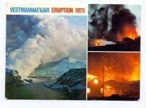 ISLAND - Vulkan, volcanic eruption, Vestmannaeyjar, 1973