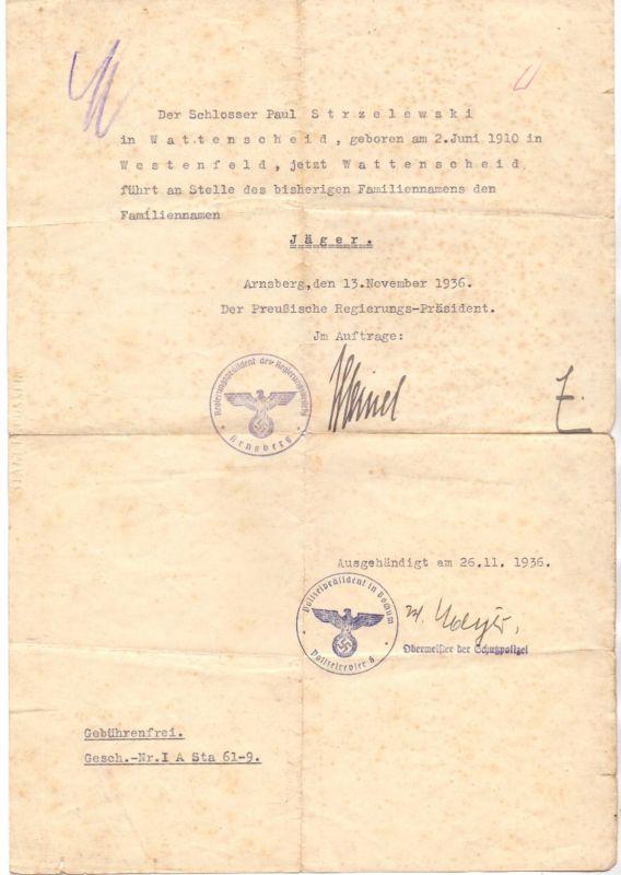 4630 BOCHUM - WATTENSCHEID, Dokument über Namensänderung von Strzelewski auf Jäger, 1936