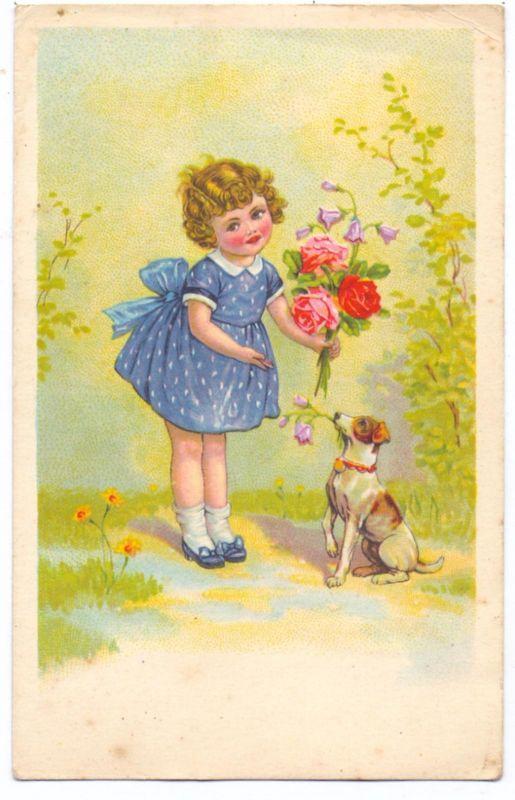 KINDER - Künstler-Karte, Mädchen mit Blumen und Hund