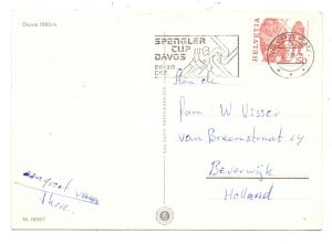 WINTERSPORT - EISHOCKEY, Davos Spengler Cup, 1985, Sonderstempel