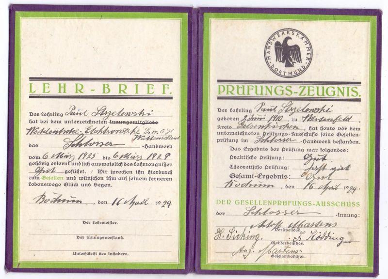 LEHR-BRIEF & PRÜFUNGS-ZEUGNIS, Schlosser, 1929, Bochum