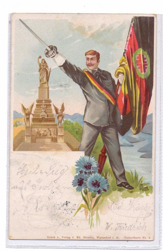 STUDENTICA - PATRIOTICA, Schlagende Verbindung, Turnerkarte, 1899