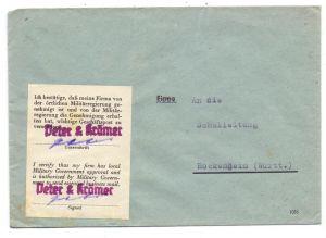 8721 SCHWEBHEIM, POSTGESCHICHTE, Zulassungs-Vignette zum Briefverkehr, Fa. Peter & Krämer