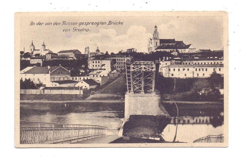 BELARUS / WEISSRUSSLAND - GRODNO, gesprengte Brücke, dt. Feldpost, Kommandeur der Kraftfahrtruppe XII. Armee