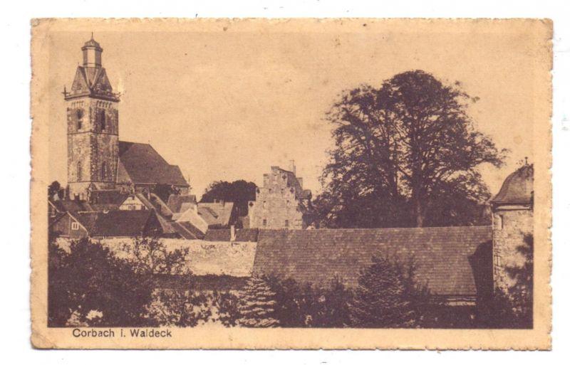3540 KORBACH, Ortsansicht mit Kirche, 1943, Landpoststempel Obernburg, kl. Druckstelle